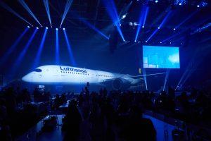 Lufthansa promove apresentação espetacular do novo A350-900