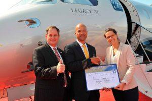 Legacy 450 da Embraer estabelece recorde de velocidade para voo transatlântico entre Estados Unidos e Europa